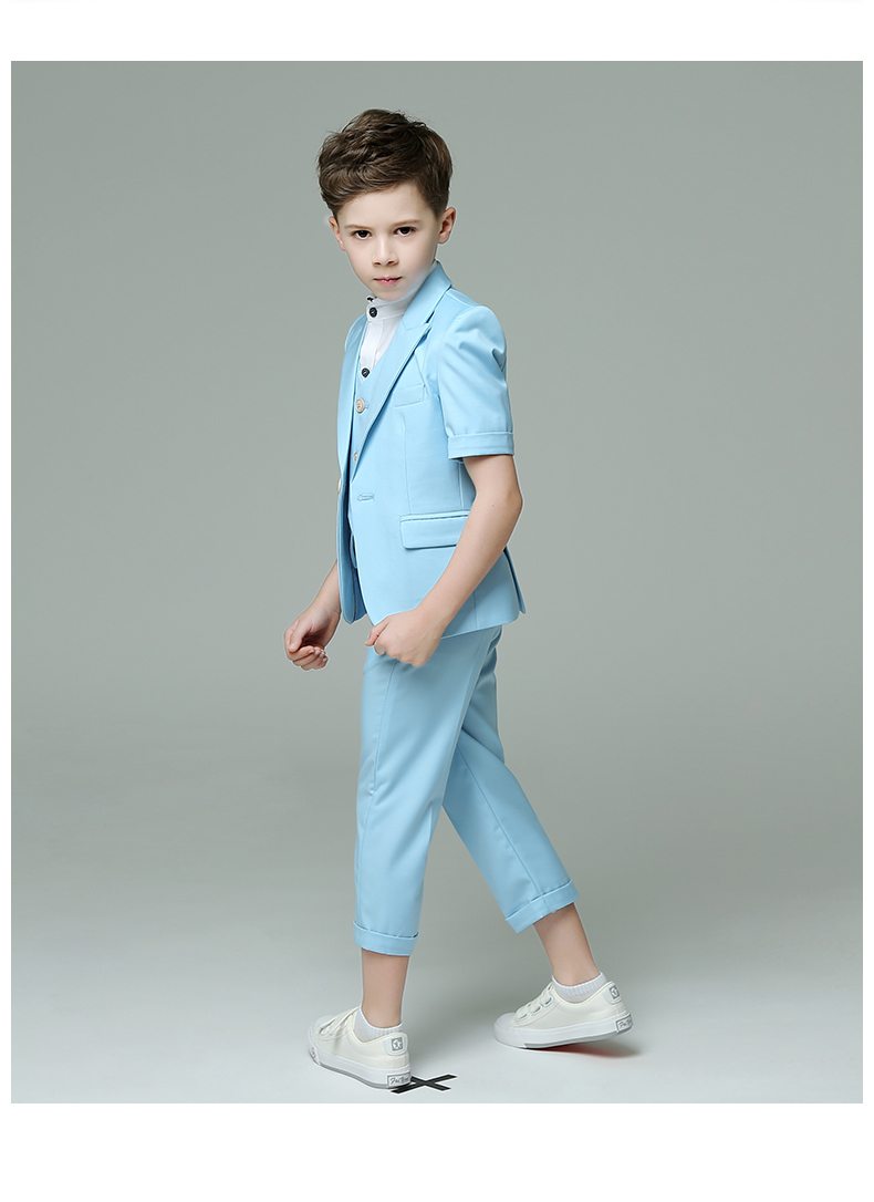 2018 spring nimble kids solid color half sleeve causal blazer wedding formal suit flower boys tuxedos school suit kids clothing