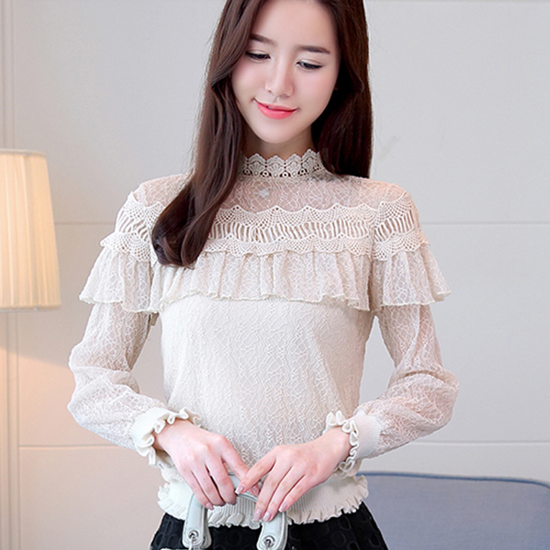 Cheap Sale Spring Fashion Women Long Sleeve Hollow Out Turtleneck Lace Blouse Ladies Office Black Shirts Tops Plus Size Clothing Blusas Women's Clothing