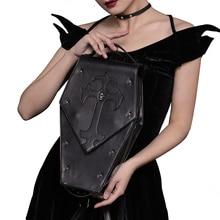 Женские Сумки из искусственной кожи в стиле ретро, Готическая сумка через плечо, женская сумка через плечо с черепом и заклепками в стиле панк, дизайнерские сумки для женщин