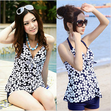 2016 Swimming Suit for Women Maillot De Bain Floral Print Swimsuit Plus Size Swimwear Dress Female Push Up Bra Bathing Suit