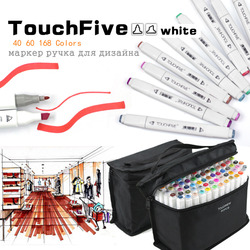 TouchFive 48/60/80/168 Colors Dual Tip Art Marker Pens Broad and Fine Point Tip with Black Bag for Painting Coloring Sketching