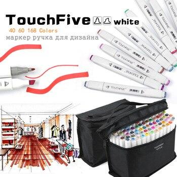 TouchFive 48/60/80/168 Cores Dupla Tip Marcador Arte Canetas Ampla e Ponto de Ponta Fina com saco preto para Esboçar Pintura Coloração
