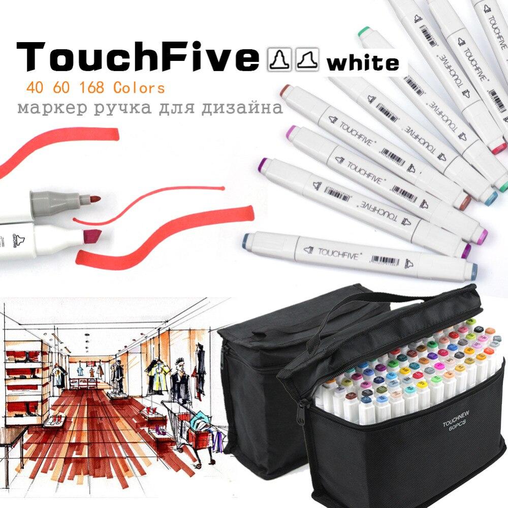 TouchFive 48/60/80/168 Couleurs Double Pointe Art marqueurs Large et Fine Point Astuce avec sac noir pour Peinture Coloration Croquis