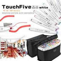 Touchfive 48/60/80/168 cores ponta dupla arte marcador canetas ponta larga e fina ponto com saco preto para pintar desenho de coloração