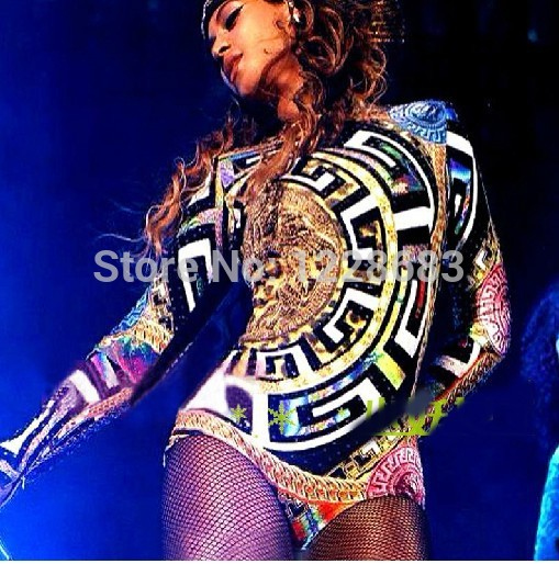 Free Shipping New 2020 Hot  Sale Lady Women Sexy Beyonce Dance Costume Singer Female Jumpsuit Beyonce Clothes / Beyonce Leotard