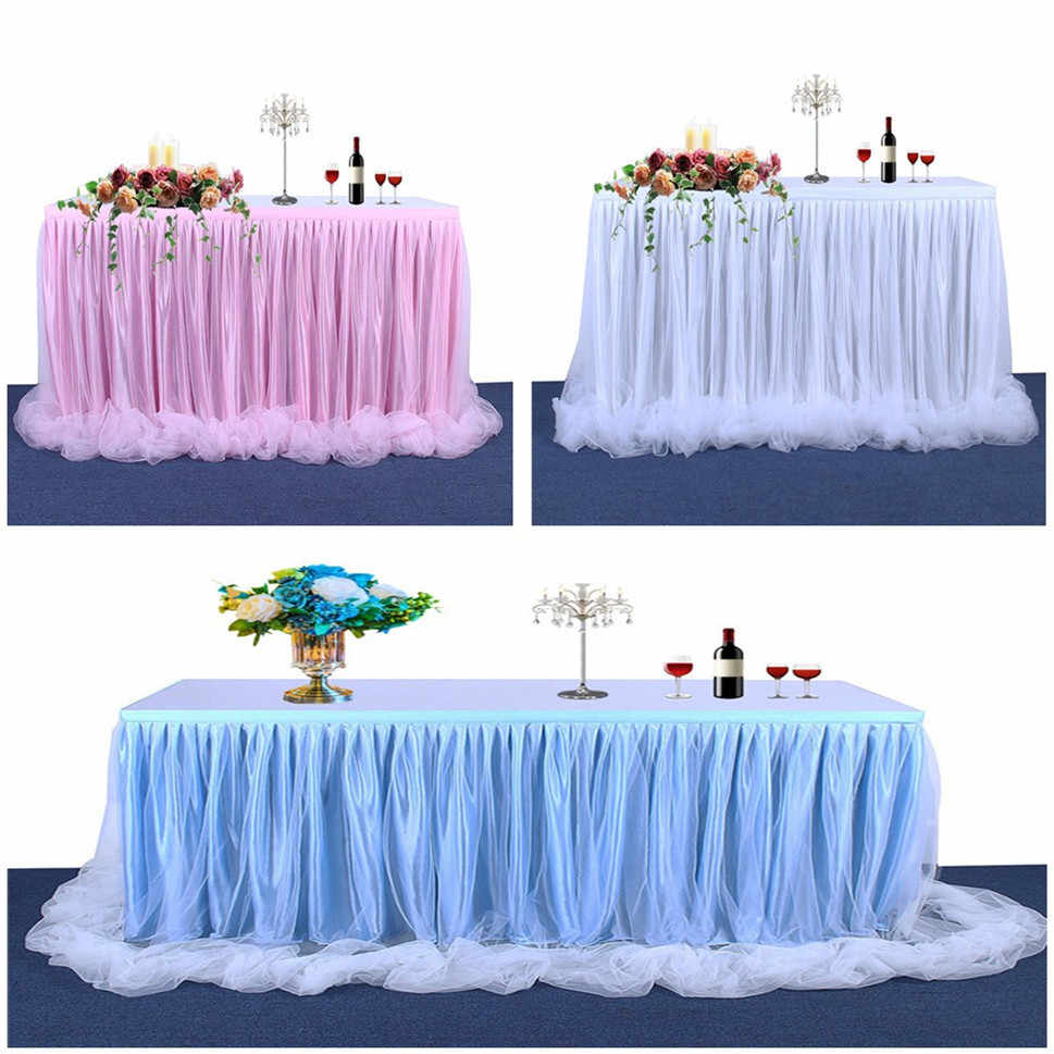 14FT Tulle Tutu Table Skirt Table White Pink Blue Cloth For Birthday Party Wedding Banquet Baby Shower Table Decoration Skirting