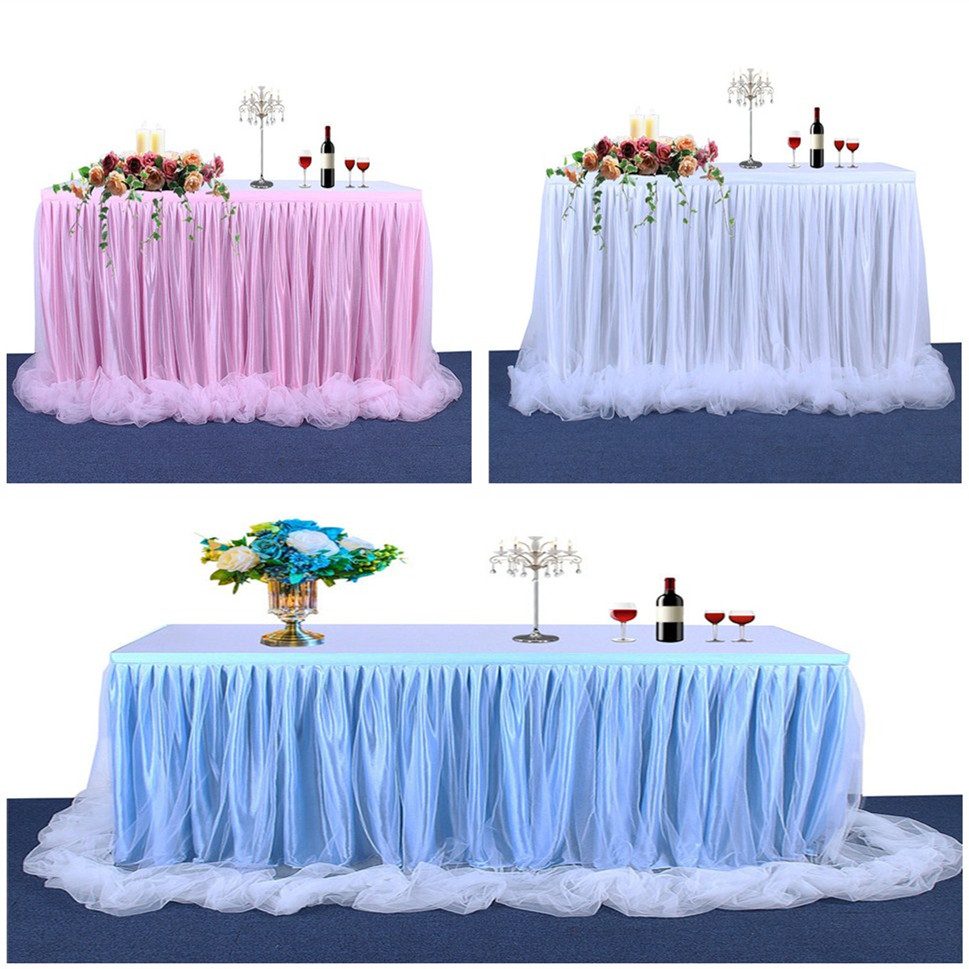 14FT Tulle Tutu Table Skirt Table White Pink Blue Cloth