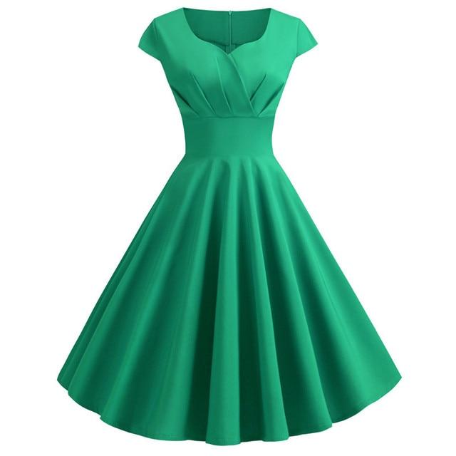 Women Summer Dress 2019 Solid Color Retro Vintage 50s 60s Casual Party Office Robe Rockabilly Dresses Plus Size Vestidos 3