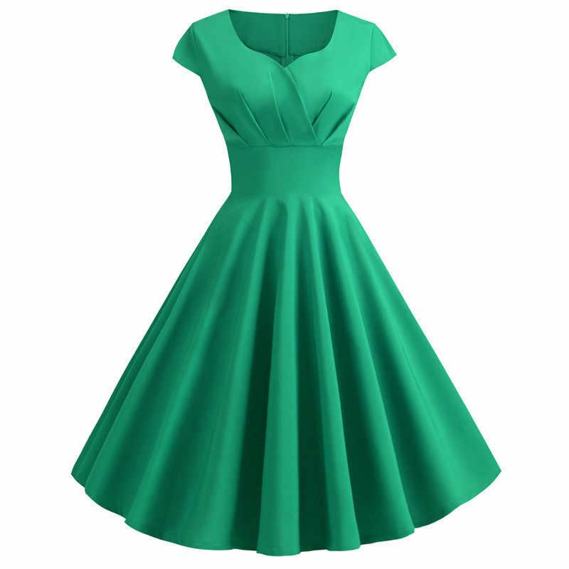 여성 여름 드레스 2019 솔리드 컬러 레트로 빈티지 50s 60s 캐주얼 파티 오피스 로브 로커 빌리 드레스 플러스 사이즈 vestidos