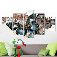 Decorative pictures Canvas Paintings 5 Pieces Butterfly Flowers Animal Poster prints for Living Room Home Decor No Framed