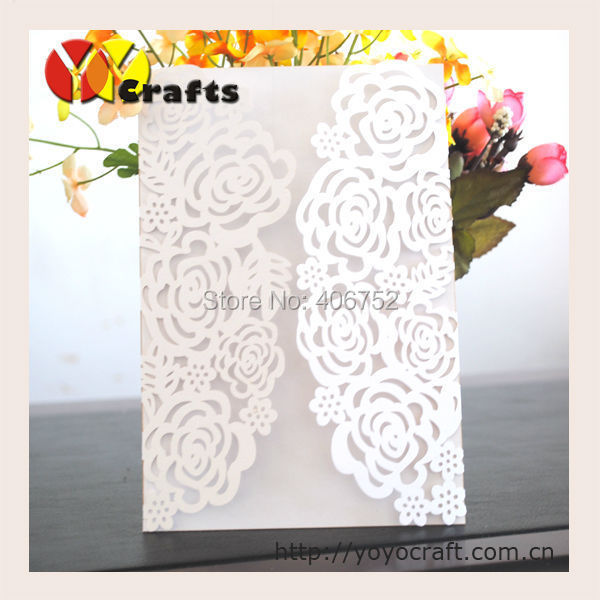 Wedding invitation cards with printing service on the insert card,wedding invitation cards pearl and ribbon(need extra cost)