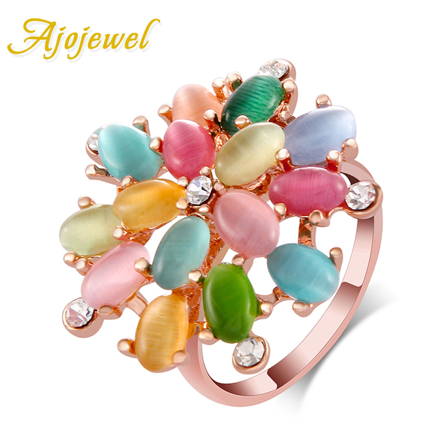 Ajojewel Big Multicolor Opal Stone Flower Ring Women Trendy Designer