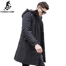 Pioneer Camp ยาวเสื้อแจ็คเก็ตฤดูหนาวที่อบอุ่นผู้ชายกันน้ำยี่ห้อเสื้อผ้าชายฝ้ายฤดูใบไม้ร่วงเสื้อลำลองสีดำลง Parkas Men