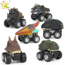 6pcs/set Dinosaur Pull Back Car Truck Big Tire Wheel Diecasts Vehicles Playset Mini Triceratops Tyrannosaurus Toys for Kids(China)