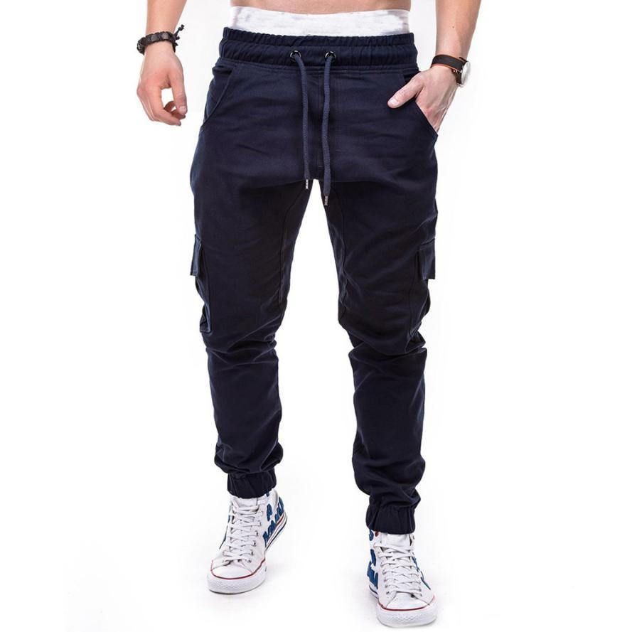 HTB1qy6kCb1YBuNjSszeq6yblFXaJ Men's Pants 2018 Fashion Men's Pure Color Bandage Casual Loose Sweatpants Drawstring Pant       july22