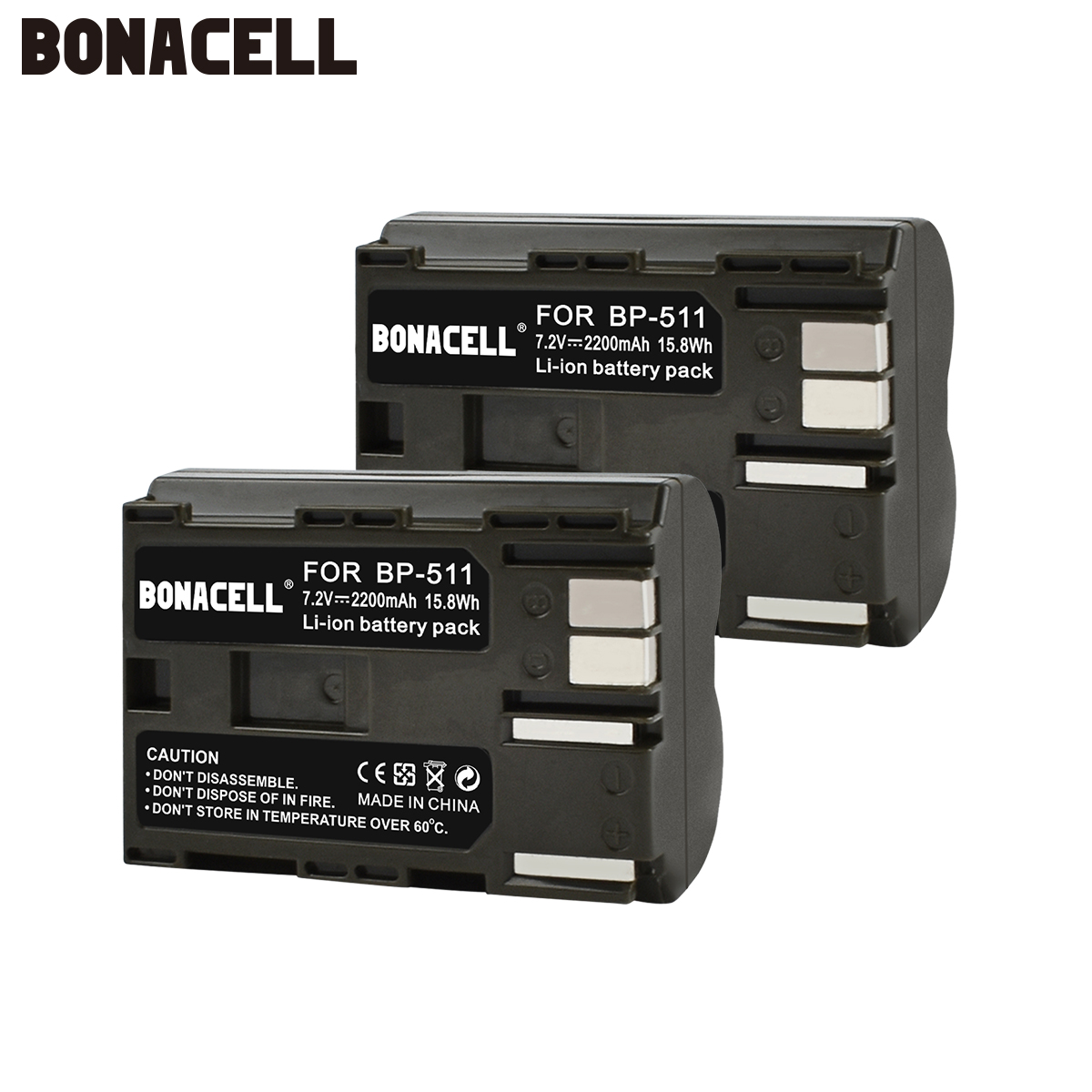 Bonacell 2200mAh BP-511 BP-511A BP 511A for Camera Battery BP511 BP 511 For Canon EOS 40D 300D 5D 20D 30D 50D 10D G6 L50
