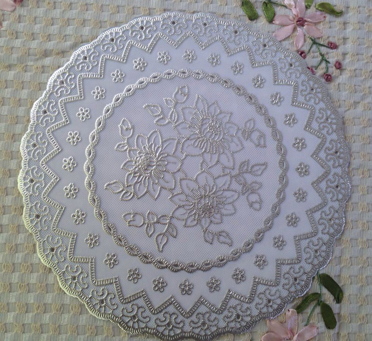 YJ-506# white Diameter 20cm PVC Mat for plate bowl table hotel dining cushion ashtray vase Place mats/Heat-insulated Waterproof