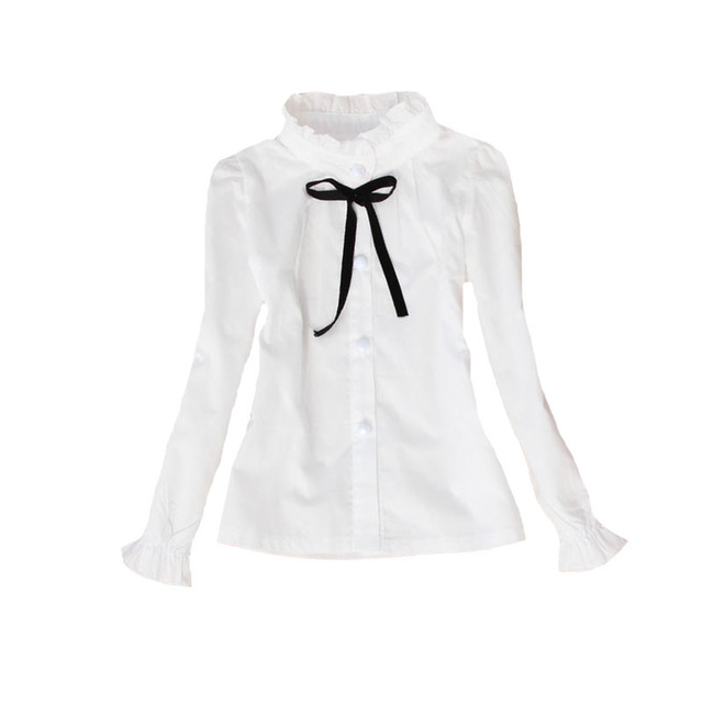 Baby Girls White Blouses Long Sleeve Flower Collar Shirts For Girls School Uniforms Cotton Students Tops