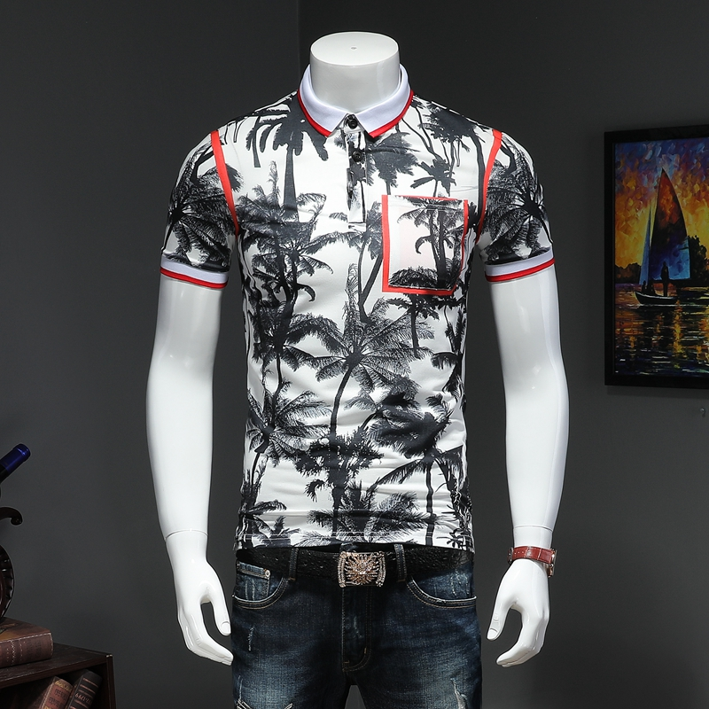 2019 summer men lapel   POLO   short-sleeved shirt embroidered qiantang P75 2009 article number 58360