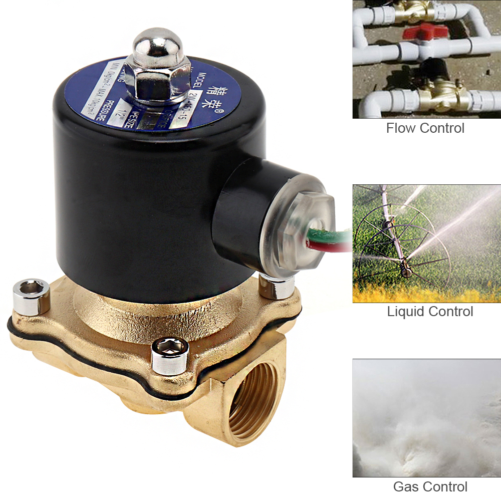 "1/2"" AC 220V Electric Solenoid Valve Pneumatic Valve Brass Body for Water Oil Air Gas"