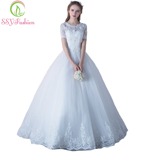 5e407e2a588b5 SSYFashion New Luxury Lace Wedding Dress Bride Married White Short Sleeves  Appliques Beading A-line Elegant Long Wedding Gown