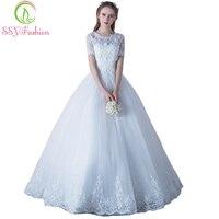 Ssyfashion новый роскошный Кружево свадебное платье невесты замуж белый Рубашка с короткими рукавами Аппликации Бисер линии Элегантные длинные