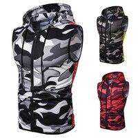 Men'S 2019 New Camouflage Hooded Vest, Stylish Slim Sleeveless Jacket Vest