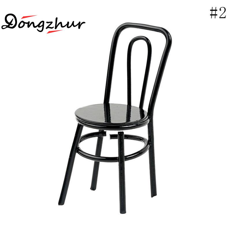 Dongzhur 1pcs 20mm*22mm*53mm Alloy Miniature Chair for 1:12 Dolls House Miniature Accessories Classic Kids Toy Black Red WWP9279