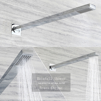 Wall Mounted Rectangle Copper Showerheads Like Shower Arms Shower Heads Rainfall 400mm Bathroom Showers Chrome Finished