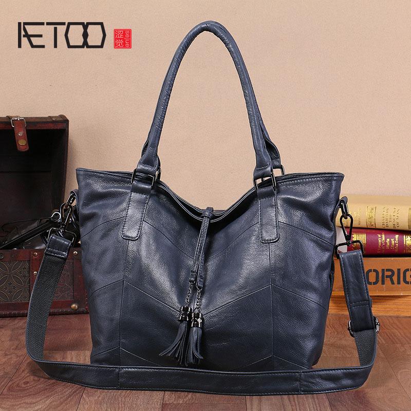AETOO New ladies ladies leather handbag shoulder bag trend oblique shoulder bagAETOO New ladies ladies leather handbag shoulder bag trend oblique shoulder bag