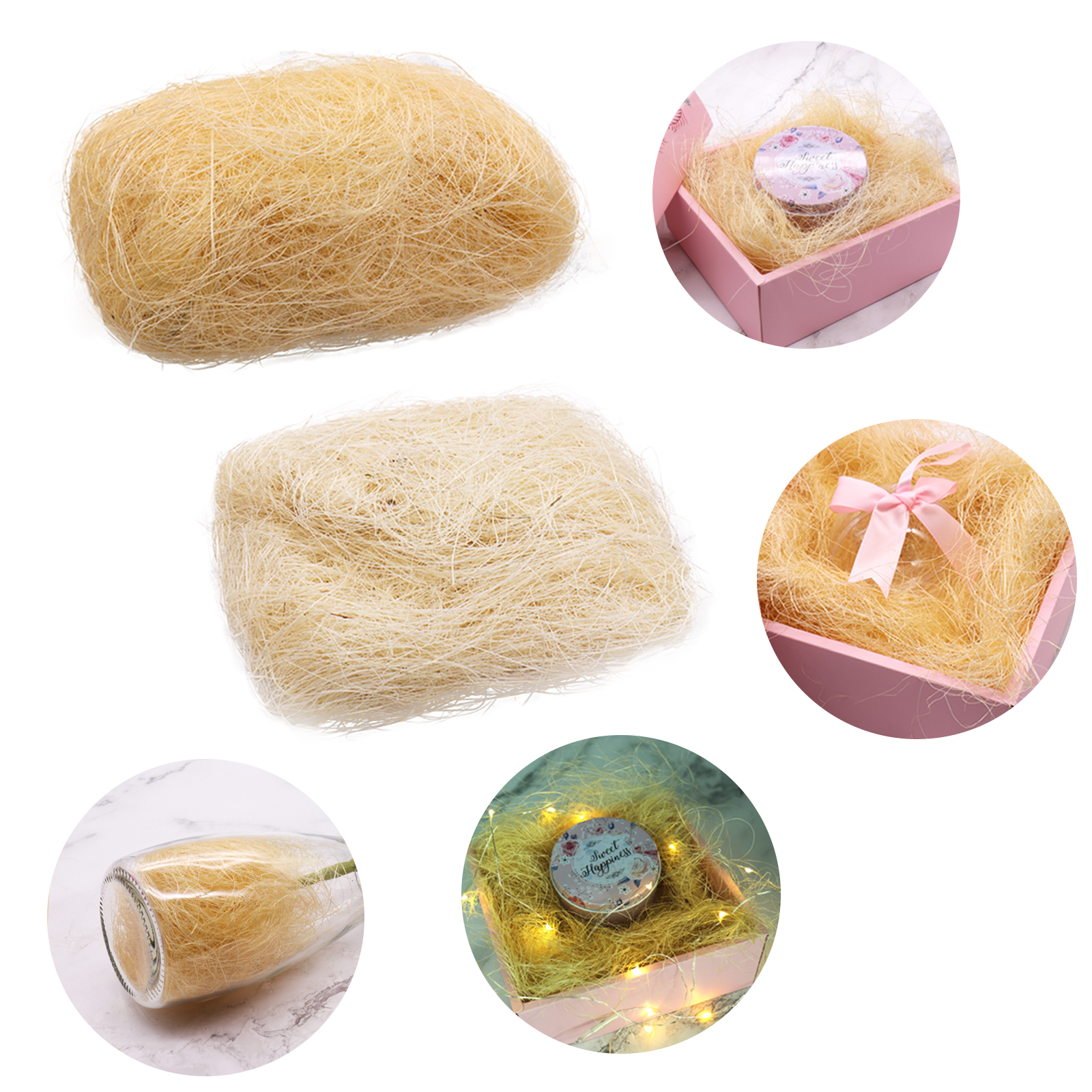 30g/pack Natural Hemp Sisal Gift Box DIY Decor/Jewelry Packaging Filling Material Wedding Gift Filler Packing Material Supplies