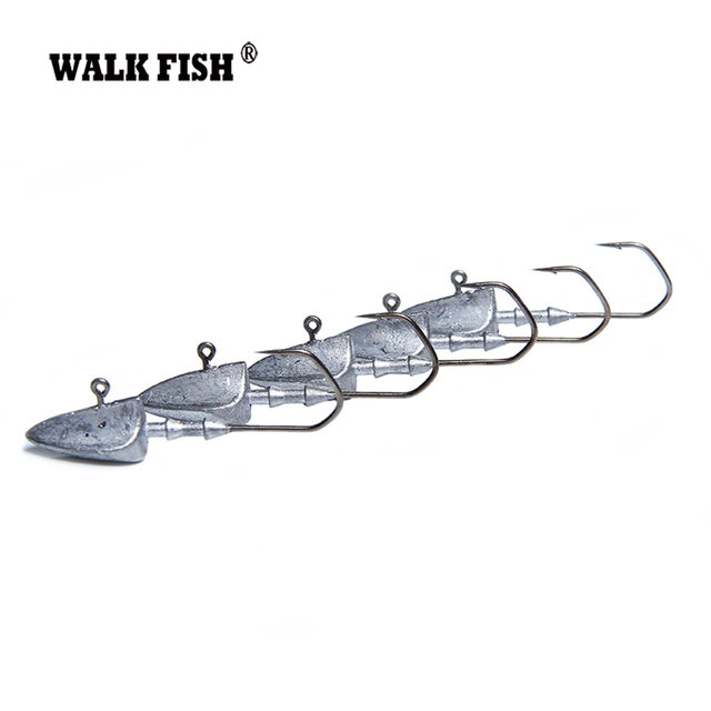 Walk Fish 5Pcs Lead Head Hooks