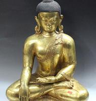 19 Tibet Nepal Buddhism 100% Bronze 24K Gold Tathagata Shakyamuni Buddha Statue