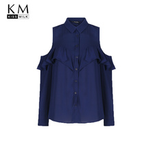 Kissmilk Plus Size Women Clothing Cold Shoulder Ruffle Detail Blouse Casual Long Sleeve Blouse Shirt Big Size Ladies Blouse цена