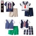 KW Бренда Джентльмен Стиль Bbay Мальчики Одежда Лето 2107 Детская Одежда Повседневная Мальчики Одежды Костюм Дети Одежда для B
