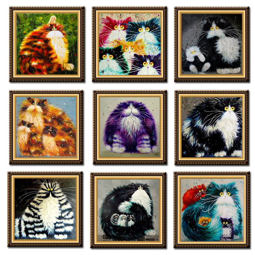 D SH Colorful Cat 5D DIY Diamond Painting Cross Stitch Kits Round Resinstone Diamond Embroidery Mosaic On Canvas For Home Decor