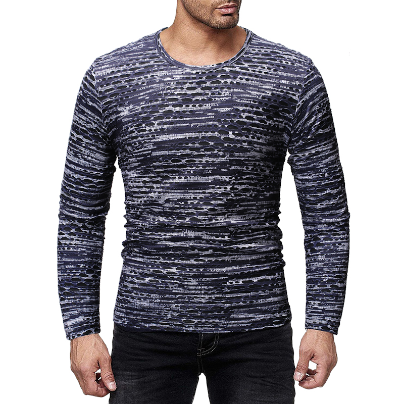 Casual Hole Printed Man's T-Shirt Loose Stripes Long Sleeve T Shirts Male O-Neck Streetwear Plus Size M-2XL