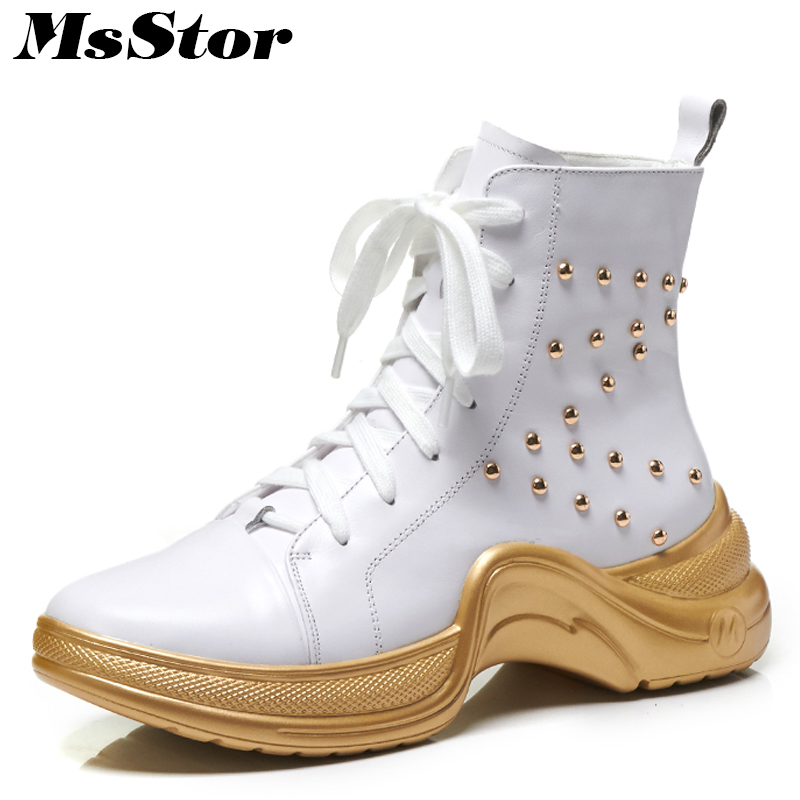 Msstor Women Boots Round Toe Thick Bottom Flat Ankle Boots Women Shoes Lace Up Platform Rivet Boot Black White Shoes For Woman msstor women boots round toe wedges ankle boots women winter shoes thick bottom lace up short plush black boot shoes for woman