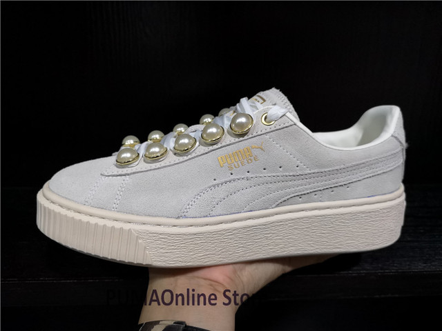 56a204e6fd7c Original Puma basket platform metallic Women s Sneakers Suede Satin  Badminton Shoes Size 35.5-39