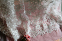 2016 High end elegant fine workmanship tulle mesh embroidered bright ivory wedding lace fabric with cording bridal gown lace