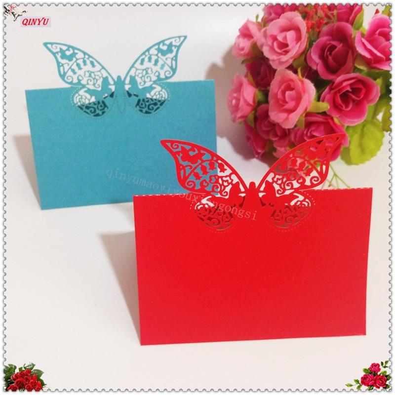 10pc//lot White Wedding Invitation Laser Cut Butterfly Card Romantic Heart Decor