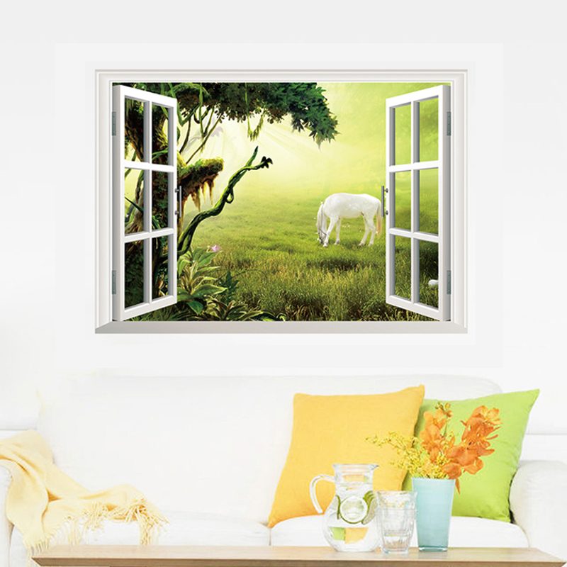 Fake Window 3D Beautiful Landscape Wall Stickers For Home Decoration Living Room Bedroom Decals Mural Poster Sticker On The Wall