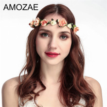 Hair Flower Crown Woman 2019 New Women Handmade Cloth Headband Summer Beach Adjustable Girls Rose