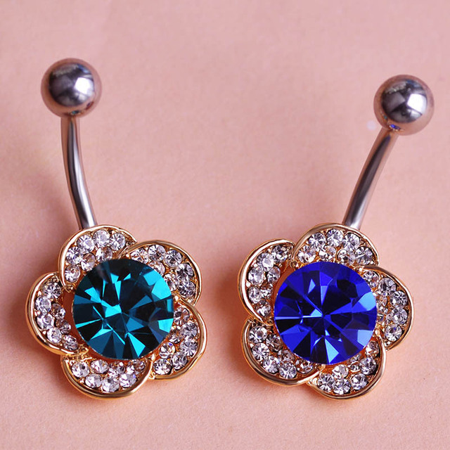 Us 13 62 39 Off Shiny Big Blue Austrian Crystal Piercing Accessories Women Flower Belly Button Rings For Women Pircing Feminino Percing Bijoux In