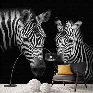 Фотообои на заказ, 3D-обои с черно-белыми зебрами, обои для гостиной, учебы, домашний декор, Абстрактные Художественные обои 3 D
