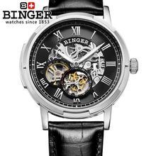 Szwajcaria zegarki mężczyźni luksusowa marka mężczyźni zegarki BINGER świecenia Automatyczne self-wiatr pełne ze stali nierdzewnej Wodoodporny B5036-4