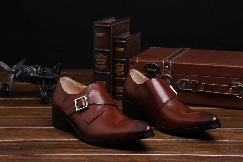Brand 100 Genuine Leather Slip On Men Dress Shoes Business Shoes Luxury High Quality Monk Strap Italian Dress Shoes in Formal Shoes from Shoes