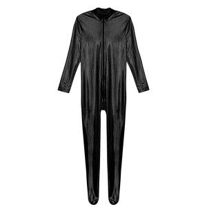 Image 5 - Iiniim męskie ciało Sexy miś błyszczące metalowe klub Bodystocking zamknięte Toe rozciągliwe całe ciało trykot Body Clubwear kostiumy