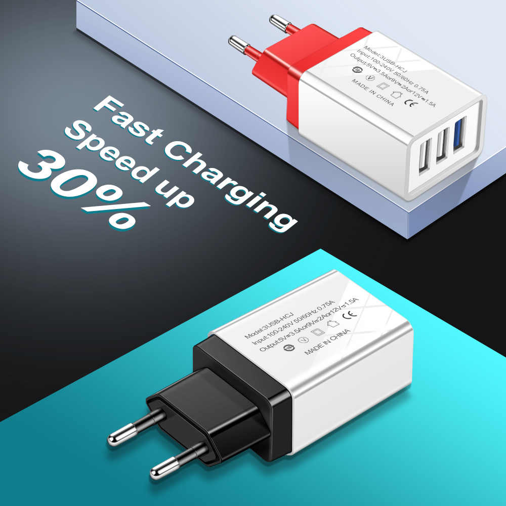 Essien dan 3 Port USB Charger Uni Eropa US 5 V 2A Cepat Charger Adaptor untuk iPhone X X 8 7 Samsung s10 S9 Huawei Xiao Mi Mobile Ponsel Charger