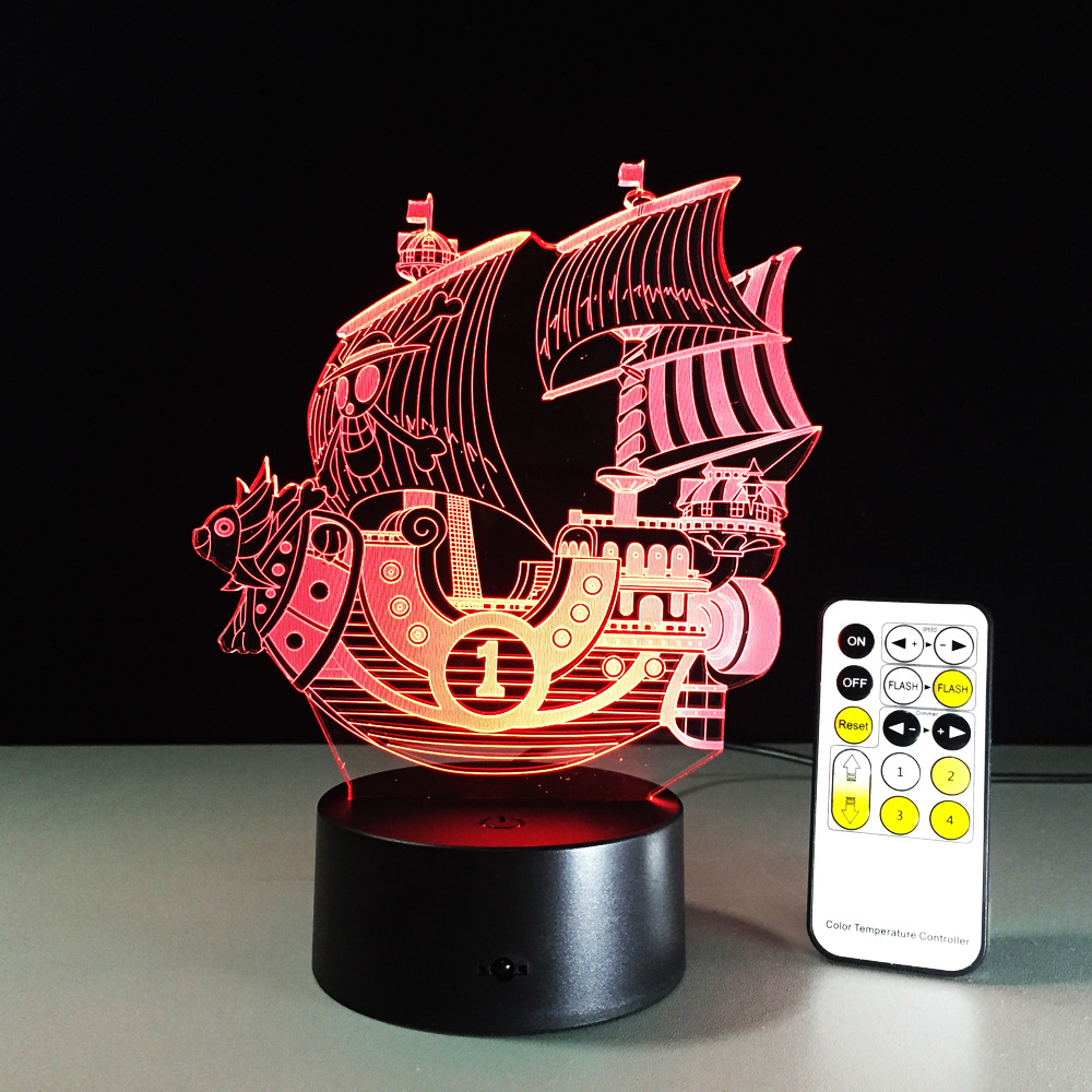 3D Sailing Sea Ship Boat Night Light RGB Changeable Mood Lamp LED Light AC5V USB Decorative Table Lamp Touch or Remote Control